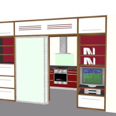 Wohnwand mit Küche